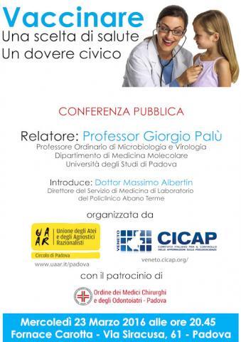 Locandina Conferenza Vaccini